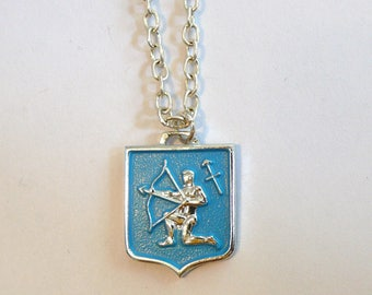 Vintage Sagittarius Necklace---New Old Stock Zodiac Charm---1960's Astrology Jewelry---Blue Charm on Silver Chain