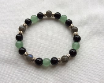 Labradorite, black Onyx and green Aventurine bracelet
