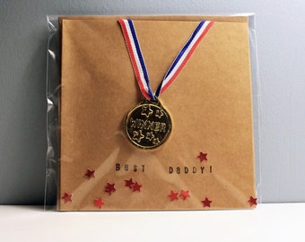 Best daddy Father's Day medal card - removable medal - red metallic star confetti - daddy birthday card - best daddy card - handmade card
