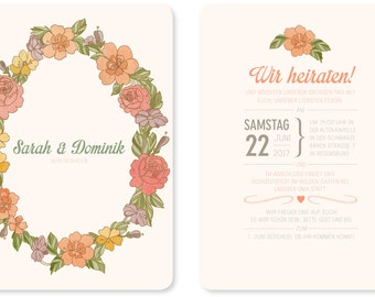 Wedding invitation - vintage -» wreath «105 x 148 mm».