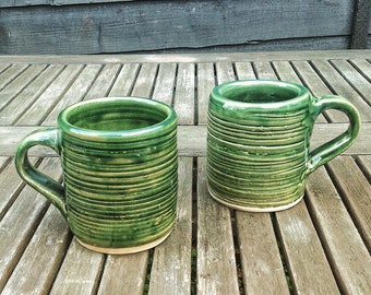 Made to Order:  A Pair of Green Stoneware Mugs - Gifts for Him - Gifts for Her - Wheel Thrown - Handmade - Home Decor