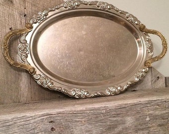 Antique Ornate Silver Platter With Handles | Decorative Tray