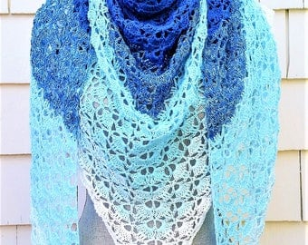 FREE SHIPPING  / South Bay Shawl / Spring Shawl / Summer Shawl / Triangle Shawl / Gift for Her / Gift for Mom / Mother's Day Gift