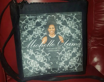 Michelle Obama Ultra suede Cross body bag with jeweled zipper!