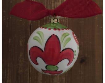 Hand Painted Red Green Fleur de Lis Ornament