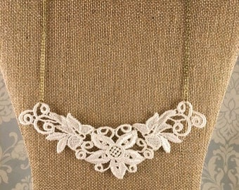 Ivory Lace Statement Bib Nacklace