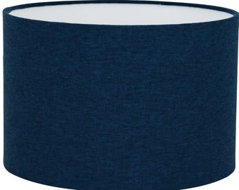 Shetland Navy Brushed Linen Style Cylinder / Drum Lampshades / Pendant Shade / Table