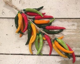 Multi Color Chili Pepper String / Chili Peppers / Hanging Chili Peppers / Ceramic Chili Peppers / Peppers