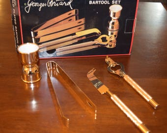 NEW in Box Georges Briard 22K gold plated Bar set Bartool Set (4 piece) Mid Century Gold Bartool Set
