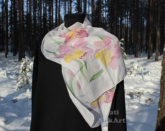 Daffodils silk scarf hand painted, Mother's day gift/  Silk Scarves/ Gift Ideas, For Her.