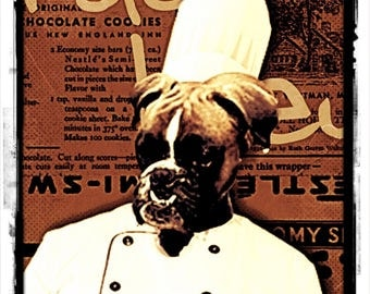 Boxer dog as chef, chef, Master Chef, Vintage, retro, brown, hat, gift for cooks and dog lovers