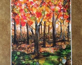 Autumn Woods Alcohol Ink Print