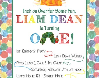Very Hungry Caterpillar Birthday Party Invite - Postcard Option - DIGITAL FILE ONLY