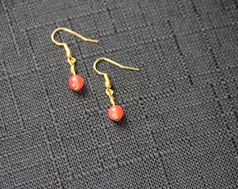 Fire Coral Dangle Earrings