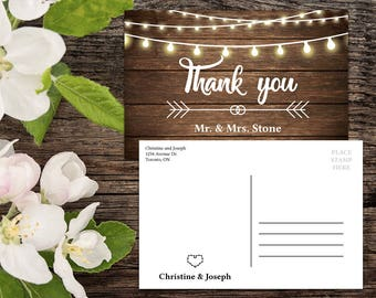 Thank you Postcard template, Rustic Wedding, Country Wedding, Wedding Thank You, Thank You Card, Printable Thank You, Thank You Postcard