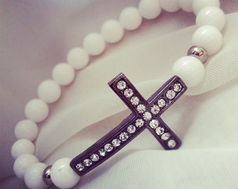 White Jade 8mm Cross Beaded Bracelet