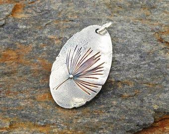 Silver wildflower pendant, organic metal clay jewelry, nature, Irina Miech