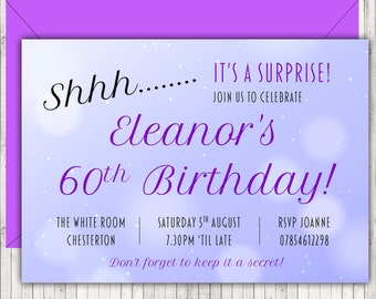 Personalised Birthday Party Invitations Adults Purple Surprise Sparkle