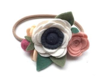 Felt Flower Headband, White Felt Anemone Flower Headband, Flower Crown, Toddler Headband, Wedding Hair Accessory
