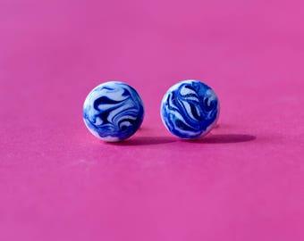 Blue marbled studs / Cobalt blue earrings / Blue and white earrings / Porcelain earrings / Ceramic earrings / Porcelain studs