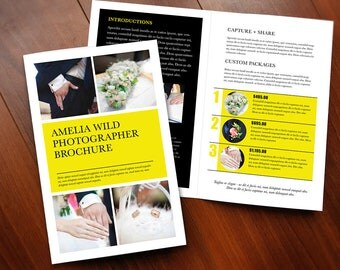 Printable Brochure Design, Photography Brochure, 2 panel brochure, Photo Marketing Kit, Bi-fold Brochure, folded brochure handout, pamphlet