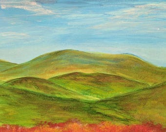 Ridge and Valley; original painting inspired by Virginia landscape; 9x12 canvas