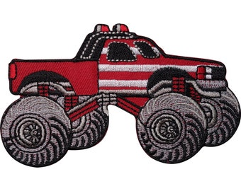 Monster Truck Embroidered Iron Sew On Patch Kids T Shirt Jeans Jacket Cap Badge
