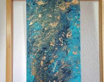 """Painting """"Copper petrol"""" 30 x 90 with sheet copper"""