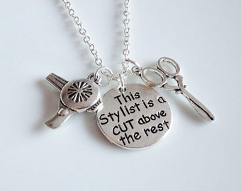 Stylist necklace, This Stylist is a cut above the rest, Hairdresser necklace, scissors necklace Stylist gift, Personalized, Initial necklace