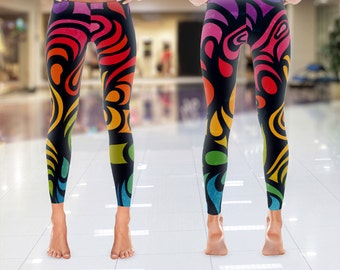Womens Abstract Leggings, Abstract Capris, Custom Leggings, Yoga Leggings, Printed Leggings, Yoga Pants, Boho Leggings