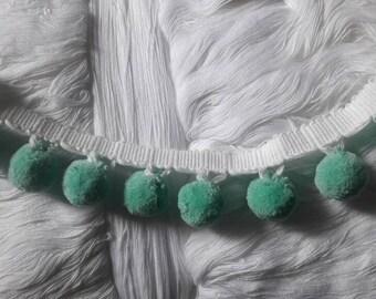 Pom pom fringe Teal green