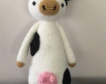 Crochet toy cow, amigurumi cow, plush cow, cow, nursery decor, toy cow, cow softie, plush farm animal,