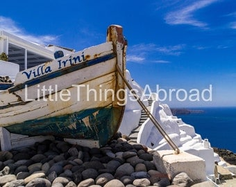 Santorini photo, Greece, island, travel photography, wanderlust, boat, sea, digital file download, printable art, urban exploration