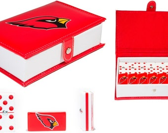Arizona Cardinals Dominoes Game Set Double Six Domino Leather Case Man Cave New