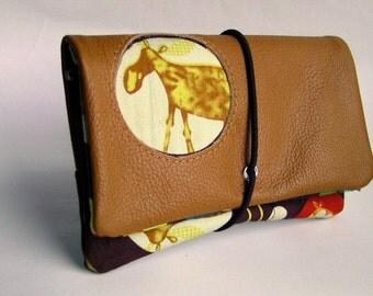 Tobacco pouch Leather Brown & wild animals