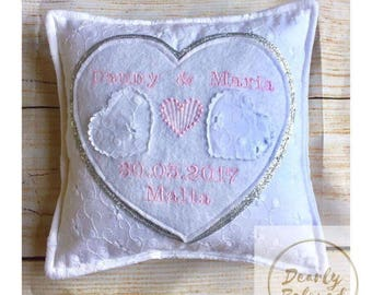 Personalised Wedding Ring Pillow, Wedding Ring Cushion, Ring Pillow, Ring Bearer