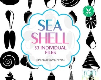 Seashell Svg, Seashell Clipart, Seashell Silhouette, Large Sea Shells, Shell Fish, Clam Shell Svg, Cut Files for Silhouette, Vector Clipart