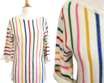 Vintage 1970's Striped Colorful Knit Sweater - Size Medium