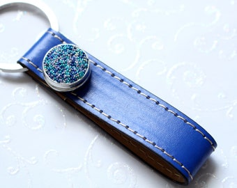 Chunk Keychain blue beads
