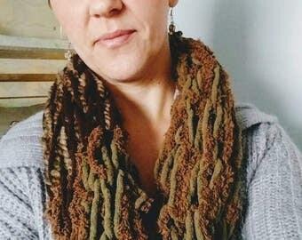 Arm knit infinity scarf, infinity scarf, unique scarf, brown scarf, knit scarf