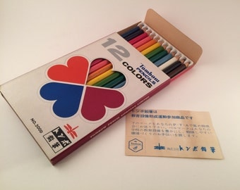 Vintage Japanese Tombow color pencils - vintage Japanese stationery