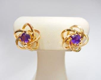 14k Yellow Gold Amethyst Stud Earrings, Amethyst, Purple, Gold Earrings, Fancy Flower Shape, Studs, Stud Earrings, Earrings, Jewelry,  #2428