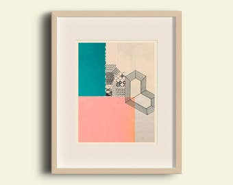 Pink & Green - Geometric Art, Mid Century Inspired Modern Abstract Collage Art Giclee Print - Home Decor