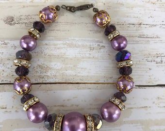 Purple bracelet  beaded sparkle