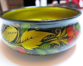 Khokhloma Soup Bowl Plate home decor - handmade - vintage