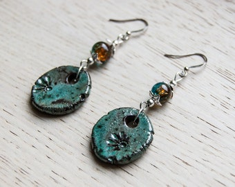 Chara - ceramic earrings in shades of turquoise