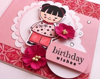Little girl birthday card, pink flower card, geisha girl card, card for girl, card for her, happy birthday card, daughter birthday card