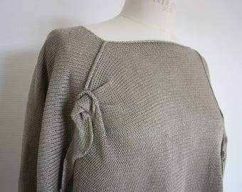 100% linen natural knit sweater with long sleeve. Layered look. Lace pattern   asymmetric
