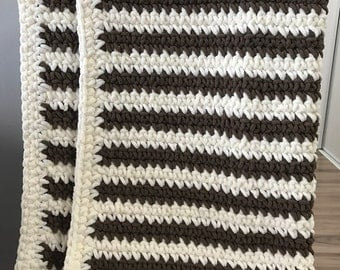 Baby Blanket-Vintage White and Dark Brown Striped
