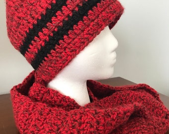 Adult Size-Beanie & Infinity Scarf-Red/Black Speckled w/Black Stripes